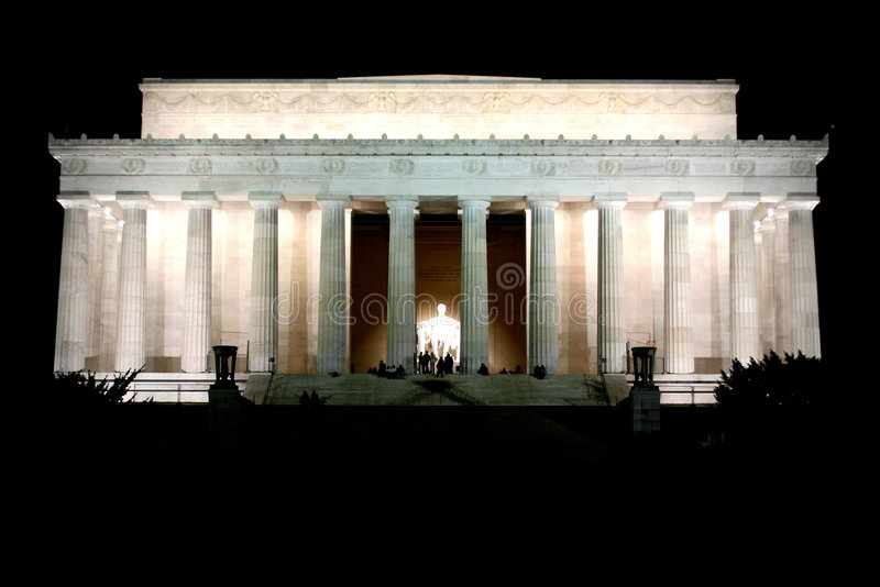 Lincoln Memorial. In Washington DC at night stock photo