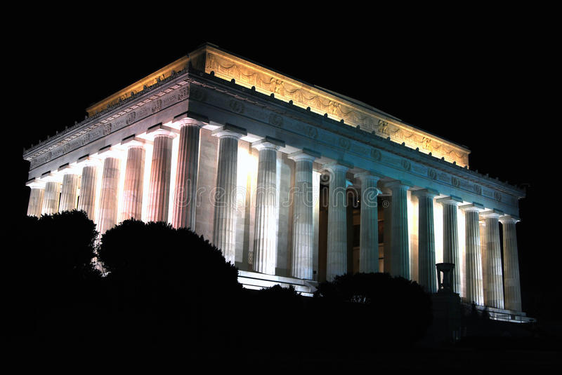 Lincoln Memorial. A nighttime view of the Lincoln Memorial in Washington, D.C. The memorial honors President Abraham Lincoln for ending slavery in the United royalty free stock image