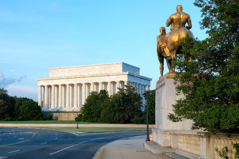 The Lincoln Memorial and the Arlington Memorial Bridge royalty free stock images