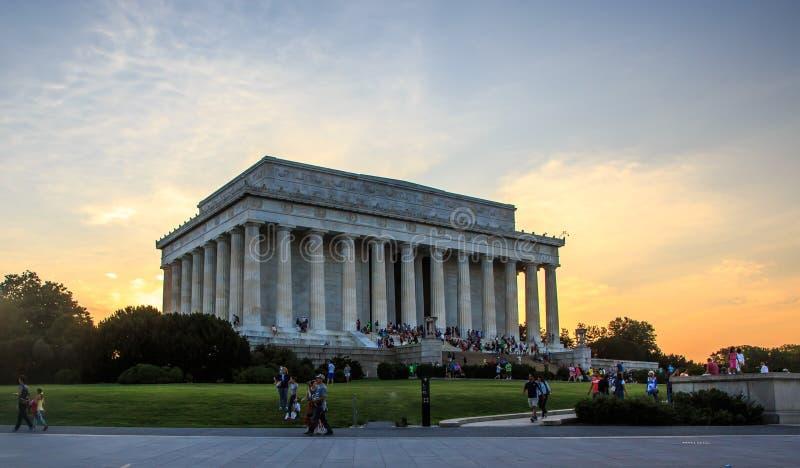 Lincoln Memorial bij Zonsondergang royalty-vrije stock foto's