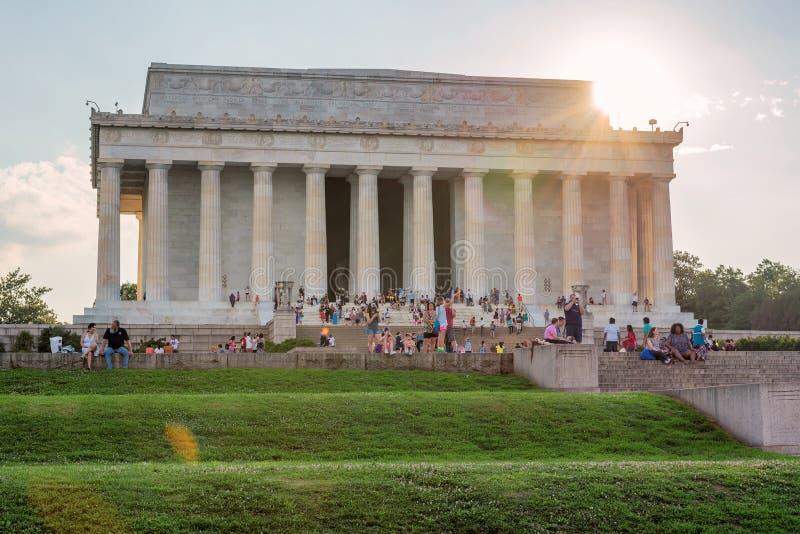Lincoln Memorial bij zonsondergang, Washington, gelijkstroom royalty-vrije stock fotografie