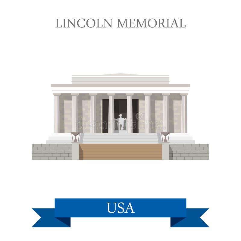 Lincoln Memorial em Washington United States liso ilustração do vetor