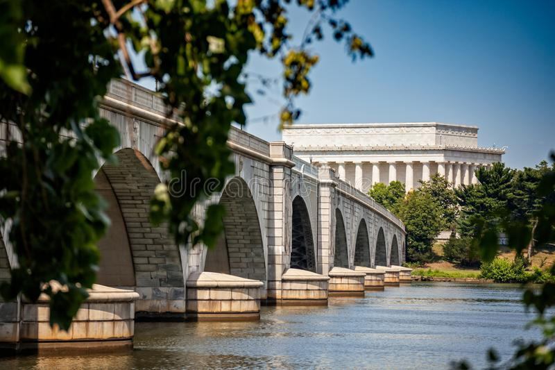 Lincoln Memorial et pont photos libres de droits