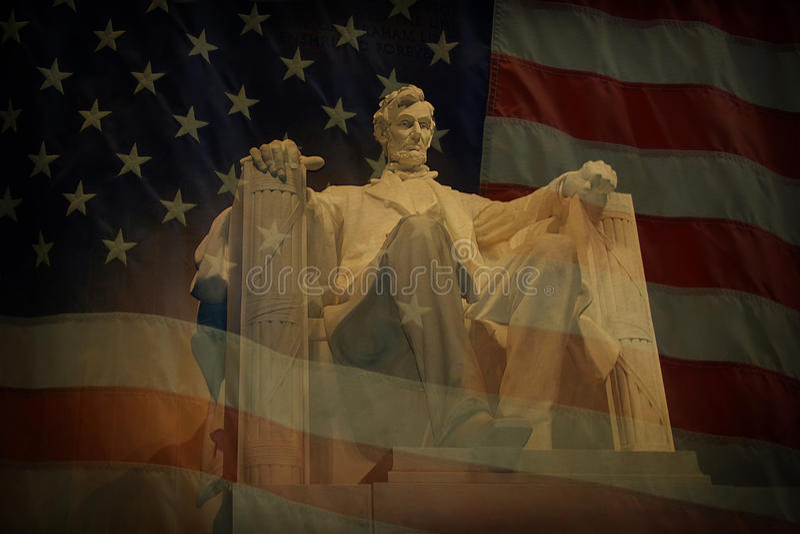 Lincoln Memorial Flag stock image
