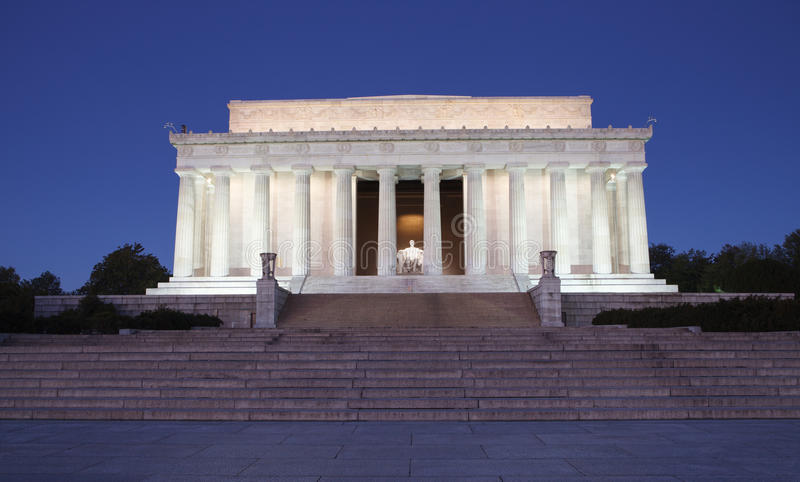 Lincoln Memorial Illuminated at Night Washington D stock photos