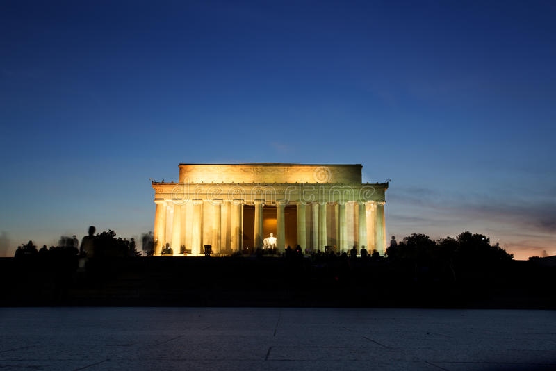 Lincoln Memorial Monument bij Zonsondergang, Washington DC royalty-vrije stock afbeelding