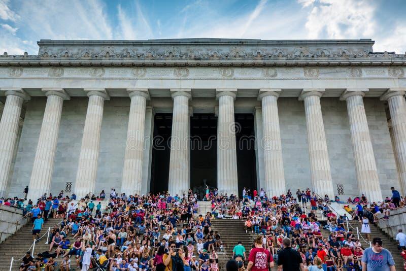 Lincoln Memorial no 4o julho, em Washington, C.C. fotografia de stock royalty free