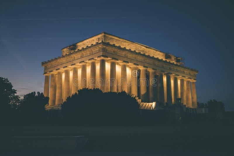 Lincoln Memorial no Washington DC na noite imagem de stock