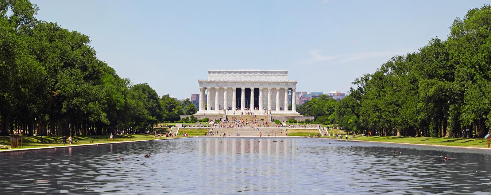 Lincoln Memorial Panorama. A high quality panorama photo of the Lincoln Memorial and the Reflecting Pool in Washington, D.C royalty free stock photography