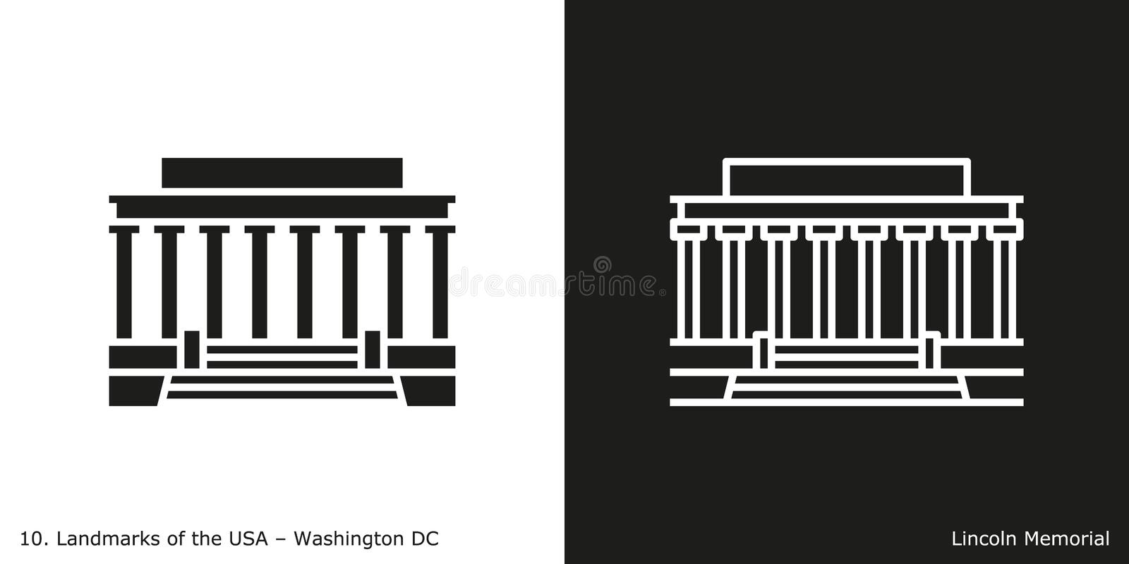 Lincoln Memorial-pictogram stock illustratie