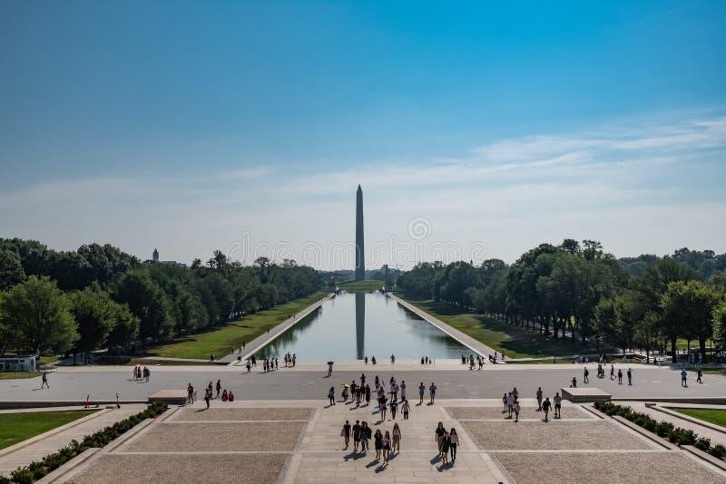 Washington monument and the reflecting pool, Washington DC, USA royalty free stock images