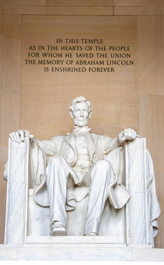 Lincoln Memorial. The statue of Abraham Lincoln inside Lincoln Memorial royalty free stock photography