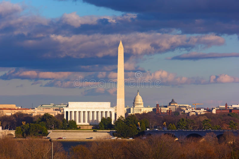 Lincoln Memorial, Washington Monument and US Capitol, Washington DC royalty free stock photos