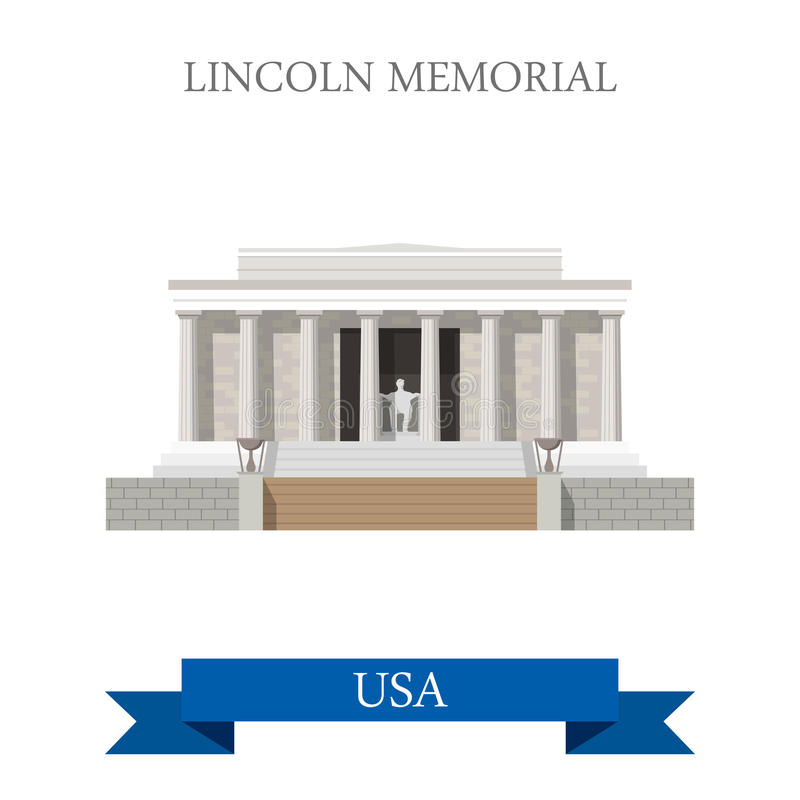 Lincoln Memorial in Washington United States vlak vector illustratie