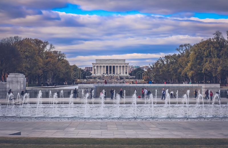 Lincoln minnes- monument i Washington royaltyfria foton
