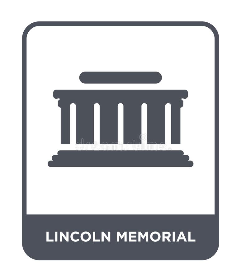 lincoln minnes- symbol i moderiktig designstil lincoln minnes- symbol som isoleras på vit bakgrund lincoln minnes- vektorsymbol stock illustrationer