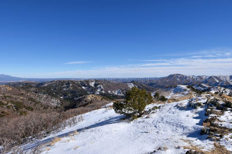 Lincoln National Forest, New Mexico - 2019_01.16: A cold winter day on White Mountain.  royalty free stock image