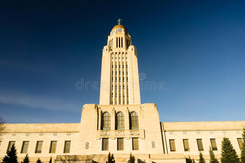 Lincoln Nebraska Capital Building Government Dome Architecture. Clear blue skies behind Lincoln`s State Capital Building royalty free stock images