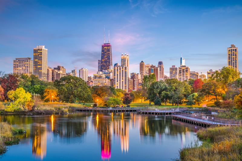 Lincoln Park, Chicago, Illinois Skyline. Chicago, Illinois, USA downtown skyline from Lincoln Park at twilight stock photo