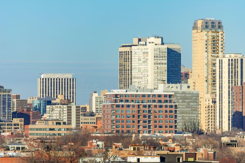 Lincoln Park Chicago Skyline Scene lizenzfreie stockbilder