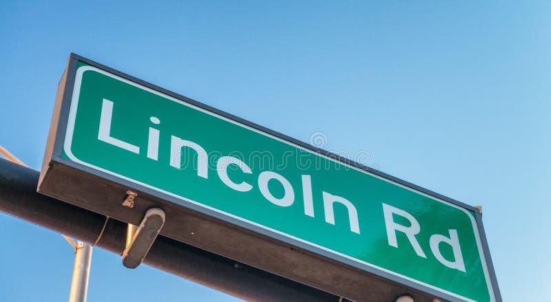 Lincoln Road-Straßenschild im Miami Beach, Florida stockfotografie