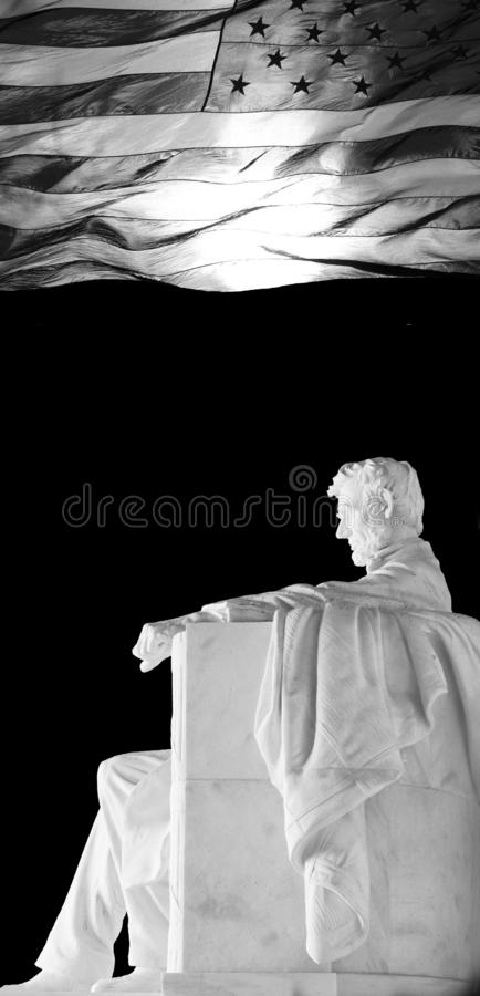 Lincoln Statue and American Flag stock images