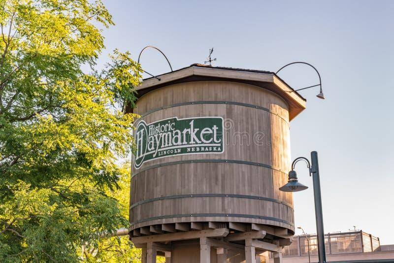 Lincoln, torre de água de Nebraska Haymarket imagens de stock