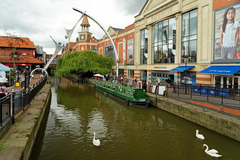 Waterside shopping center at the Witham river, Lincoln, England. LINCOLN, UK - JULY 1, 2016: Waterside shopping center on the fossdyke canal on the Witham river royalty free stock photography