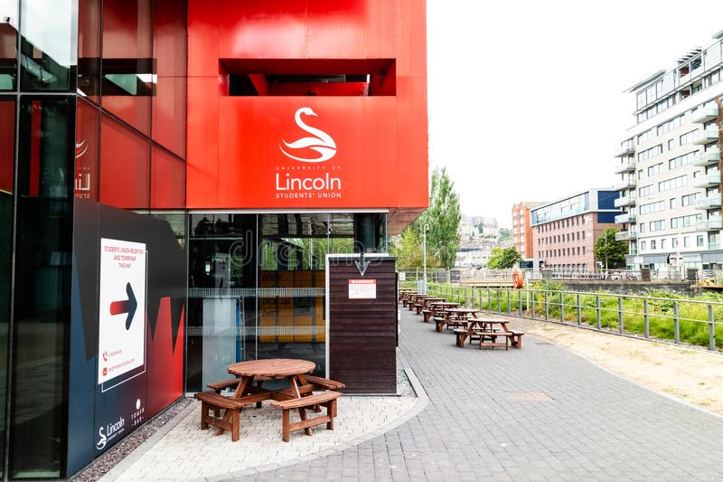 Lincoln, United Kingdom - 07/21/2018: The entrance to the Unive. Rsity of Lincoln`s Student Union royalty free stock photo
