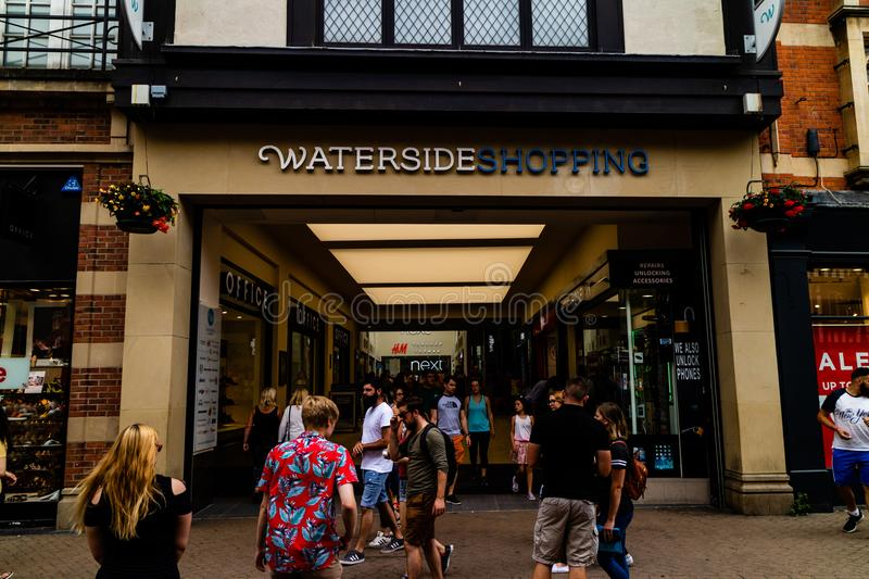 Lincoln, United Kingdom - 07/21/2018: The entrance to the Waters. Ide Shopping centre from the Lincoln High Street on a busy Summer`s day royalty free stock images