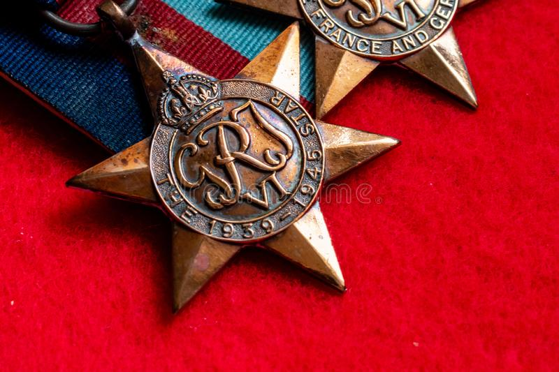 Lincoln, United Kingdom - 08/14/2018: The 1939-1945 Star World W. Ar II medal, awarded for 180 days of operational service or 60 days of operational flying stock photos