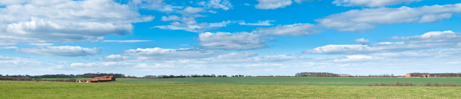 Lincolnshire Farmalnd Panorama. Panorama image of the typical fertile flat farmland in North Lincolnshire royalty free stock photo