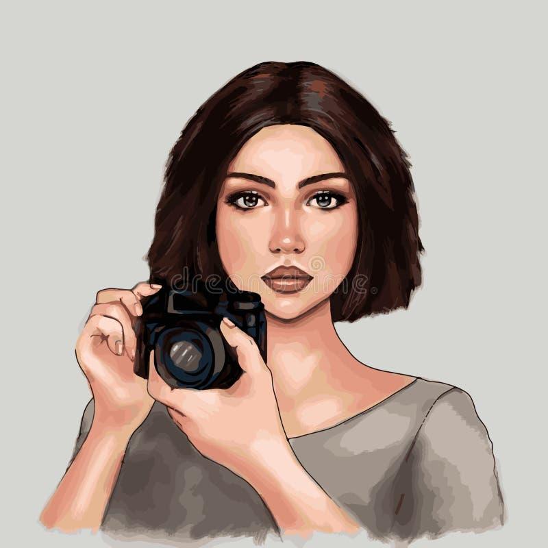 Linda garota tirando fotos, fotógrafa, turista, linda garota, humana, hobby, profissão, símbolo, impressão ilustração royalty free