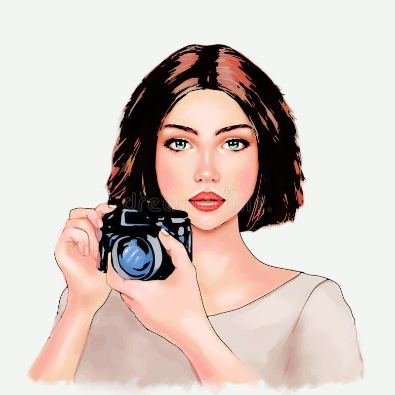 Linda garota tirando fotos, fotógrafa, turista, linda garota, humana, hobby, profissão, símbolo, impressão ilustração stock