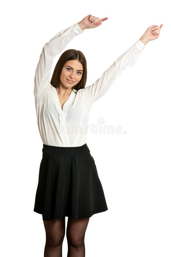 Linda mulher em blusa com mãos levantadas isoladas foto de stock royalty free