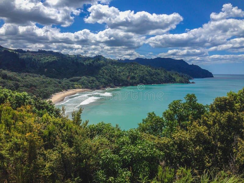 Linda praia de Waihi na Baía da Prenda, Ilha do Norte, Nova Zelândia imagem de stock
