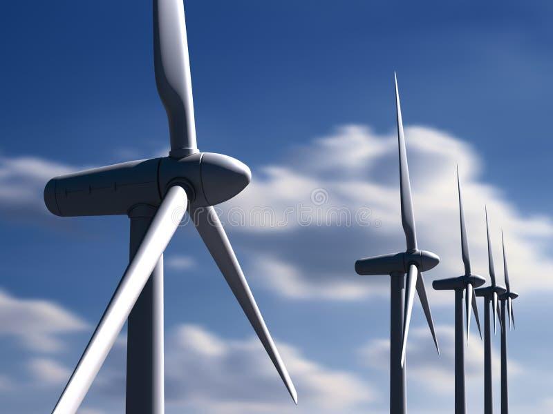 Linda turbiner med skyen och moln på bakgrund royaltyfria foton