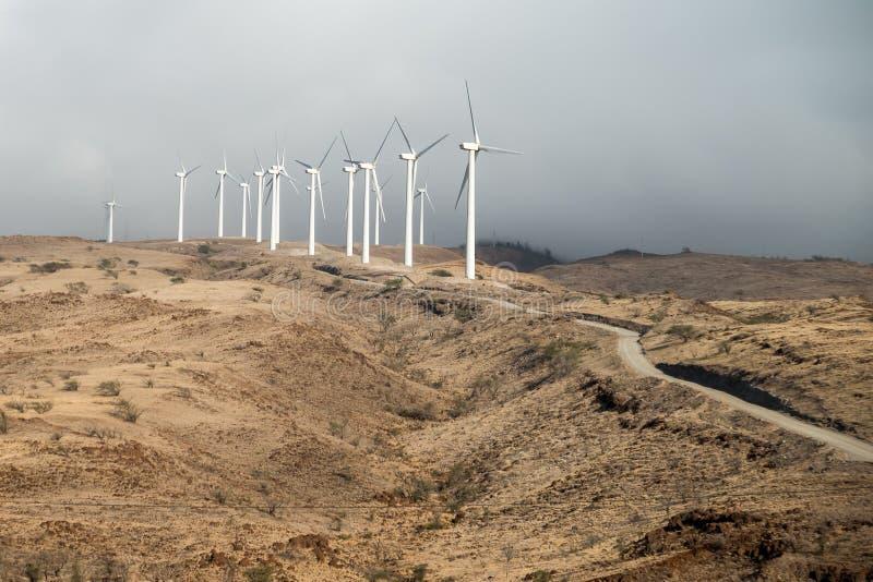Linda turbiner ovanför segla utmed kusten royaltyfria bilder