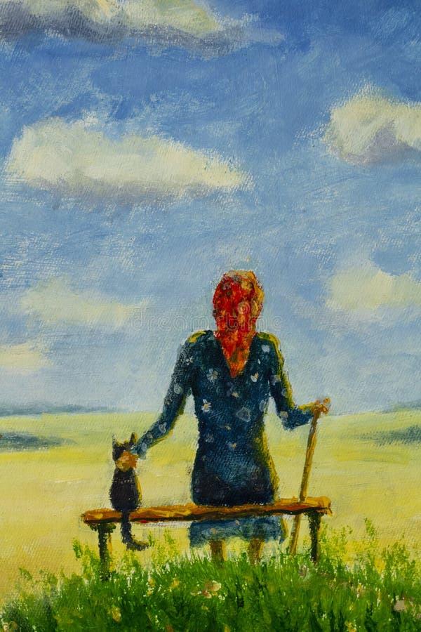 Linda velha mulher avó senta com gato no banco e gosta de flores no campo de verão e céu azul com grandes nuvens ilustração do vetor