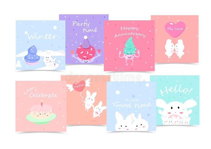Lindas, las tarjetas del día de fiesta, colección de la historieta, etiquetas engomadas, celebran el mensaje creativo del partido ilustración del vector