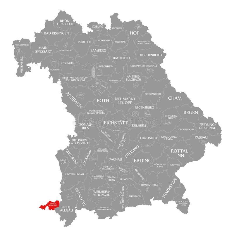 Lindau jest Bodensee okręgu administracyjnego czerwienią podkreślającym w mapie Bavaria Niemcy ilustracji