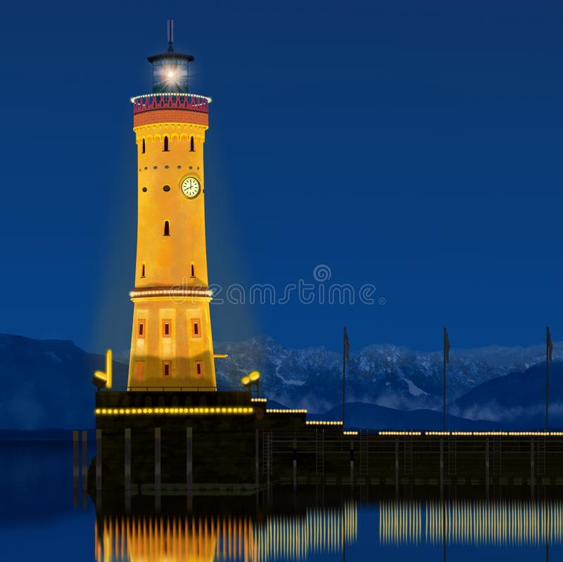 Lindau Lighthouse at Twilight. The beautiful Lindau Lighthouse, Germany at twilight with harbor lights reflecting onto Lake Constance and the Bavarian Alps in stock illustration