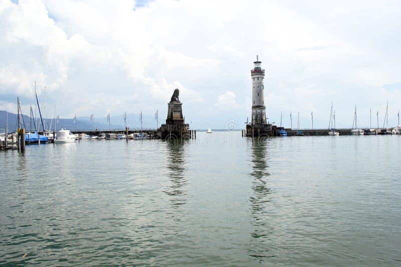 Lindau port z latarnią morską, Bodensee, Niemcy fotografia stock