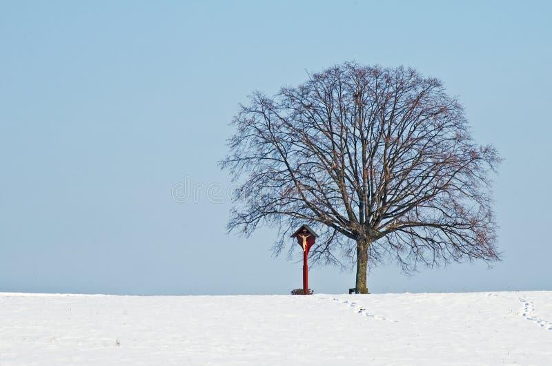 Lindeboom met sneeuw en kruis stock afbeeldingen