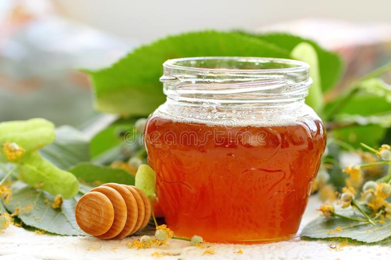 Linden honey in glass jar. And linden flowers royalty free stock image