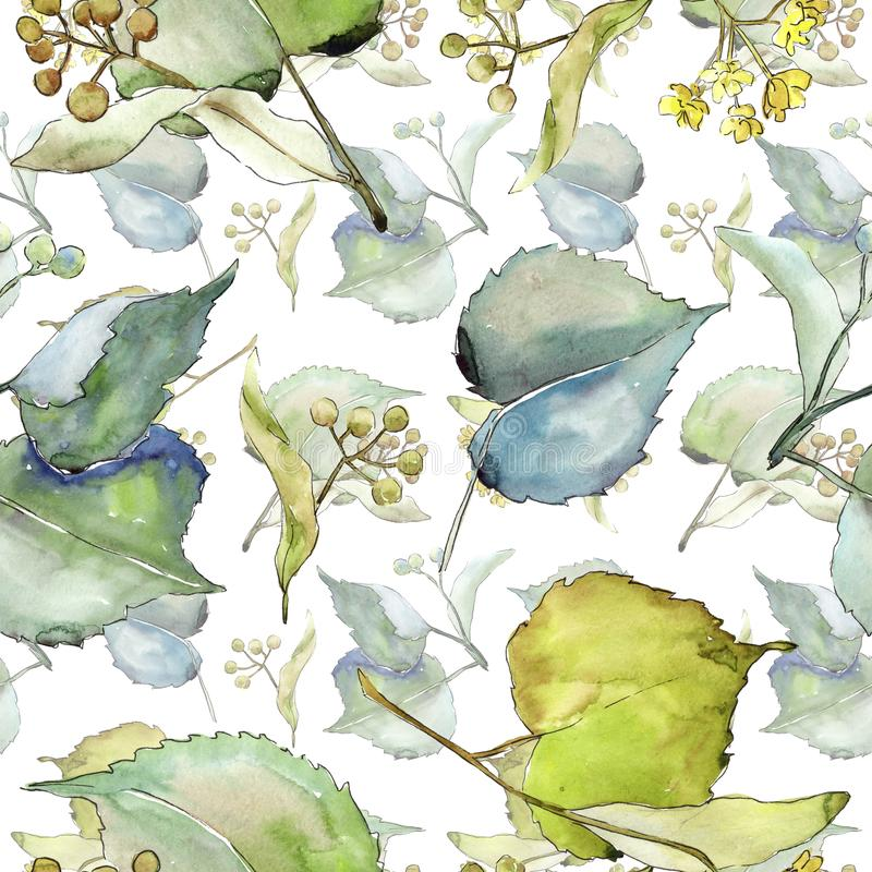 Linden leaves pattern in a watercolor style. vector illustration