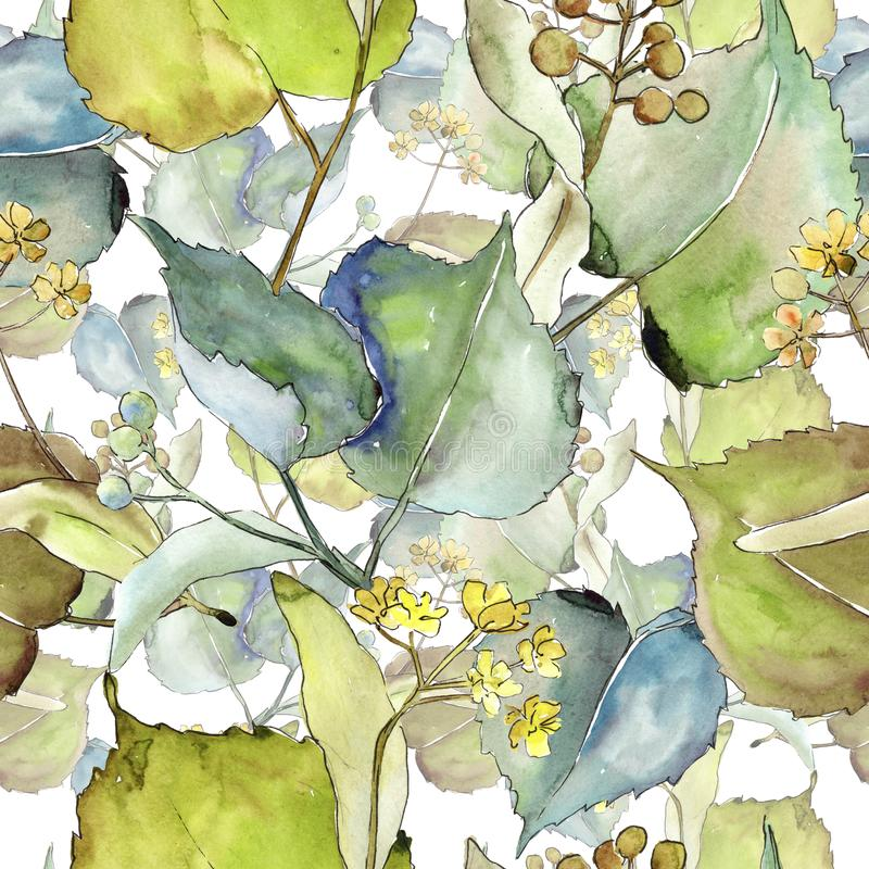Linden leaves pattern in a watercolor style. stock illustration