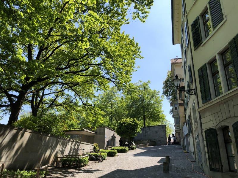Lindenhof - oasis Histoire-trempée au coeur de la ville de Zurich photo stock