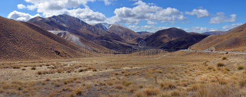 Lindis Pass Panorama, Otago centrale, Nuova Zelanda fotografie stock