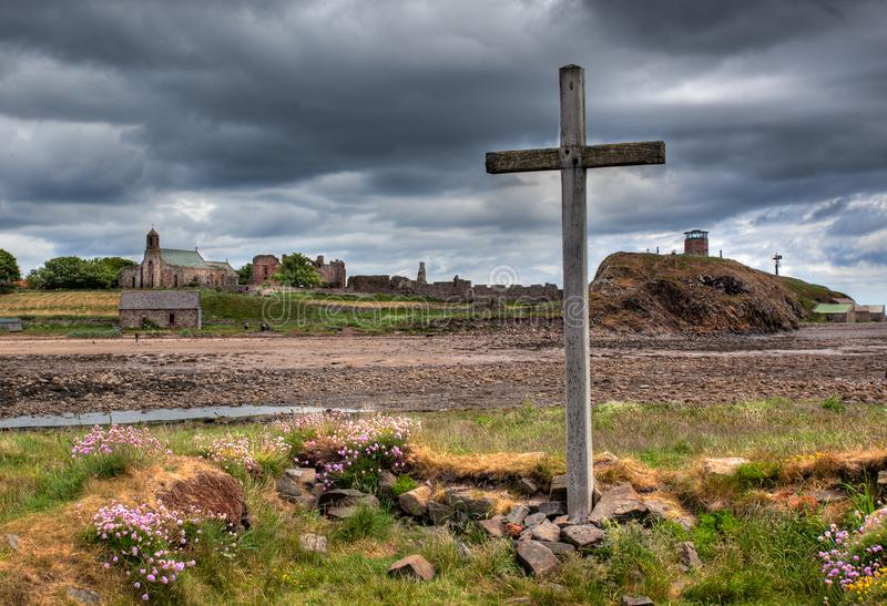 Lindisfarne helig ö Northumberland, UK royaltyfria bilder